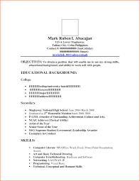 Resume Educational Background Format Ojt Sample Resume Resume For Your Job Application
