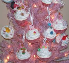 set of 6 faux cupcakes candyland ornaments on