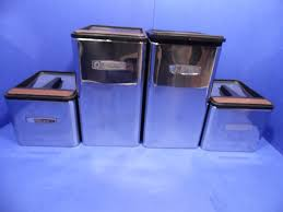 vintage masterware kitchen canister 4 piece set chrome metal black