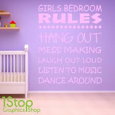 girls bedroom rules wall sticker quote nursery art item specifics