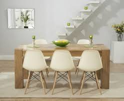 thames 150cm solid oak dining table with charles eames style dsw