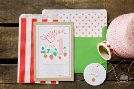 strawberry picnic first birthday invitations yellow suitcase studio
