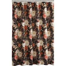 Black Floral Curtains Dramatic Cabbage Floral Fabric Shower Curtain On