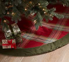 plaid tree skirt plaid and velvet tree skirt pottery barn
