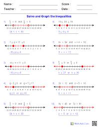 algebra 1 worksheets inequalities worksheets