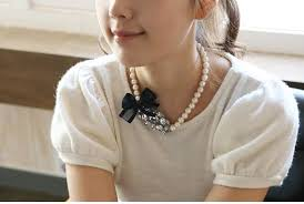 pearl bow necklace images Femininity charm textured bow oval round stone pearl necklace 0001659 jpg