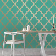 marrakesh self adhesive wallpaper in honey jade design by tempaper