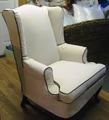 slipcovers chairs brown pattern linen wingback chair slipcover with curved brown