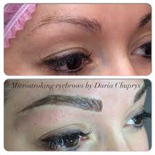 realistic permanent eyebrows on a client with very little natural
