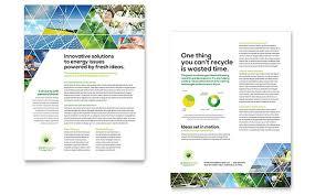 green energy consultant datasheet template design