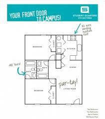 student quarters valdosta two bedroom two bathroom floorplans