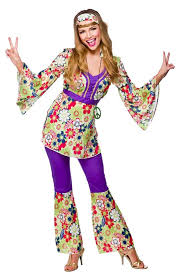 ladies hippie 60s 70s hippy flower fancy dress costumes flares
