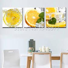 toile de cuisine 3 pièce moderne impression sur toile cuisine fruits glace orange