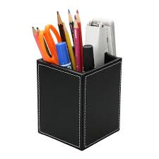 rangement stylo bureau pot à crayons bureau en cuir boîte de rangement stylos multifonction