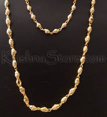 chain necklace with beads images Gold plated silver tulsi necklace small beads jpg