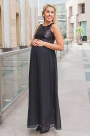 maternity evening dresses black sequin top chiffon sleeveless maternity evening gown