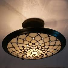 Flush Mounted Ceiling Lights by Metal Decor Beige Stained Glass Tiffany Three Light Semi Flush