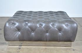 Light Blue Tufted Ottoman Ottoman Tufted Ottoman Coffee Table Leather Storage In Blue
