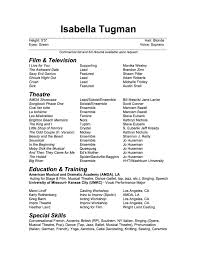 Commercial Acting Resume Sample Resume Isabella Tugman