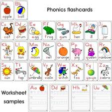 colored phonics flashcards 26 pieces and worksheets 26 pieces