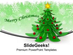 christian 3d wonderful christmas tree design ppt template