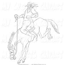 sports clip art of a cowboy on a bucking bronco by patrimonio 7177