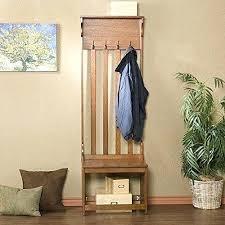 Entryway Storage Bench With Coat Rack Entryway Storage Bench With Coat Rack Mission Style Oak Wood