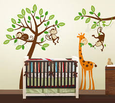 Nursery Monkey Wall Decals Jungle Tree With Monkeys And Giraffe Wall Decal Wall Sticker