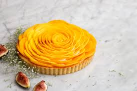 constellation inspiration mango rose tart with crème chantilly
