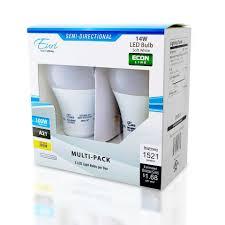 Led Light Bulbs Lumens by A21 2 Pack Led Bulbs 14 Watt 100w Equiv 1521 Lumens By Euri