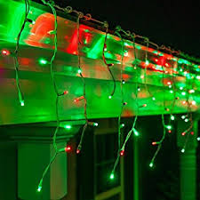 set of 100 green and clear frosted icicle lights