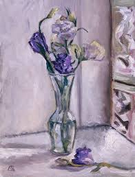 Glass Vase Painting Lavender Flowers In A Glass Vase With Glass Block Window Painting