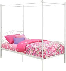 metal twin canopy bed frame bedroom furniture girls princess