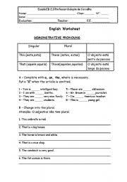 demonstrative pronouns worksheet by rita
