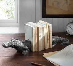 Pottery Barn Organization Crocodile Silver Bookends Pottery Barn