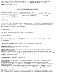 doc 518600 sample stock purchase agreement template u2013 stock