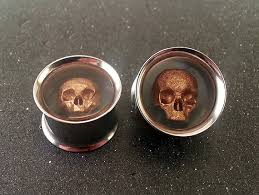 skull ear plugs steel tunnel 316l 0g 8mm 00g 10mm 7 16 11mm