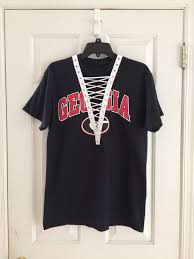 Georgia Travel Shirts images University of georgia lace up tee college pinterest jpg