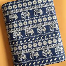 Home Upholstery Aliexpress Com Buy By Meter Ethnic Elephant Print Linen Material