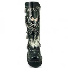 skull print womens biker boots with chains by hades gothic boots