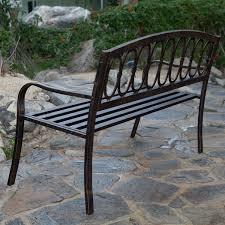 Steel Garden Bench Antique Gold Finish Weather Resistant Outdoor 4 Ft Metal Garden