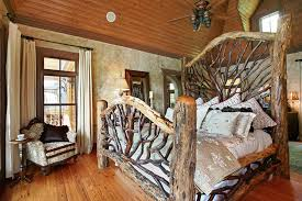 wood king size headboard varnished log wood king size bed with twigs pattern ffotboard and
