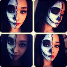 half face halloween makeup ideas halloween tutorial half skull face youtube