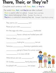 there their or they u0027re grade spelling vocabulary worksheets