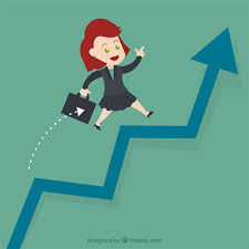 growing chart businesswoman jump over growing chart vector free download