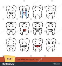 set tooth outline emoticons isolated vector stock vector 574757839