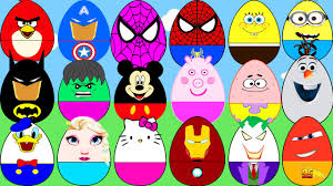 surprise eggs cartoon for kids superheroes elsa spiderman