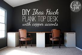 Diy Home Desk Diy Ikea Hack Plank Top Desk With Copper Accents The Gathered Home