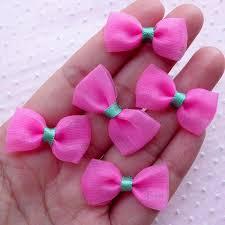 fabric ribbon mesh bows small gauze bow ties tulle fabric ribbon 5pcs
