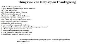 things you can only say on thanksgiving